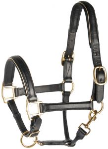 Harry's Horse Halter in pelle, nero con bordino