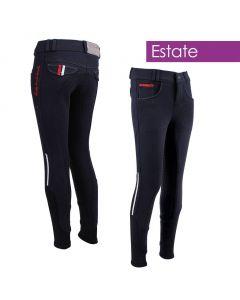 QHP Pantaloni da equitazione Junior Coco con seduta intera antiscivolo Estate Bianco 116
