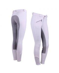QHP Pantaloni da equitazione Junior in pelle sintetica nero 134